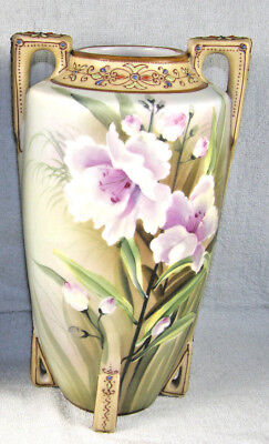 "Antique Nippon 10-1/4"" Hand Painted & Moriage Vase - Maple Leaf Mark"