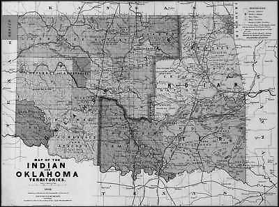 1892 OK MAP OKLAHOMA WASHITA WOODS WOODWARD American native HISTORY very LARGE