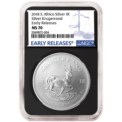 2018 South Africa Silver Krugerrand 1oz NGC MS70 Blue ER Label Retro Core