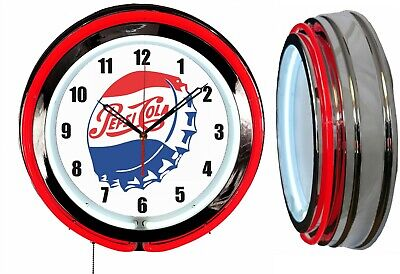 "Pepsi Bottle Cap 19"" Double Neon Red Neon Clock Mancave Bar Garage"