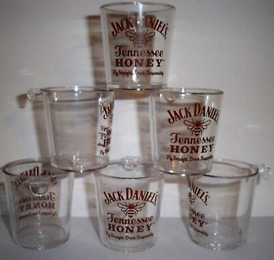 Lot Of 6 Jack Daniels Tennessee Honey Shot Glasses Plastic With Hook **new**