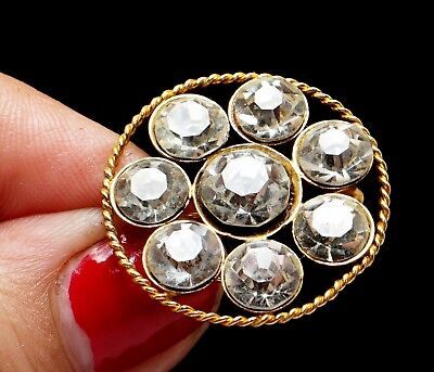 Antique Victorian  Clear Paste Stones Gold Filled  Brass Round Brooch Pin