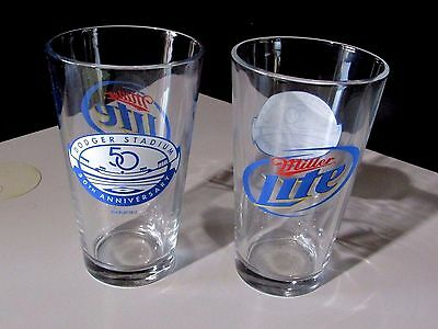 NEW 2 Miller Lite RARE Dodger Stadium 50th Anniversary 16 oz Pint Beer Glasses
