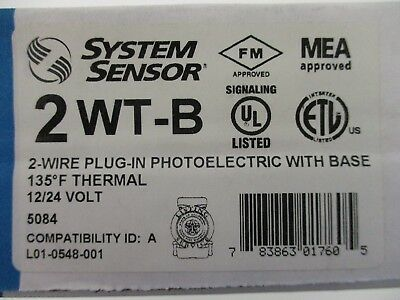 (New) System Sensor 2Wt-B - 2-Wire Photo 135°F Fixed Thermal Detector