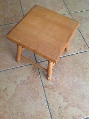 Vintage Wood MILKING STOOL Bench 4-Leg chair Rustic-country.
