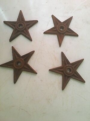 Lot of 4 Cast Iron Architectural Stress Washers Texas Lone Star Rustic Rusty 4""