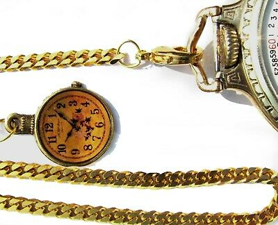 Gold Plated Pocket Watch Chain With Clock Fob, Spring Ring Clasp & Swivel Hook