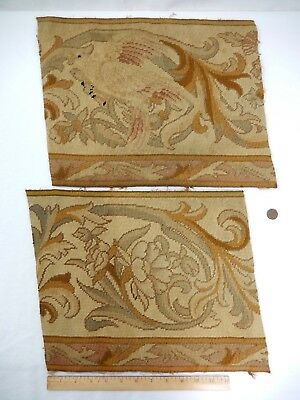 Wonderful Pair of Antique Needlepoint Tapestry Fragments.