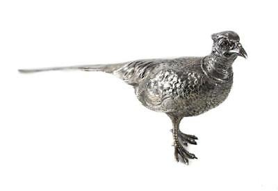 Large Antique German .800 Silver Figural Pheasant Bird.