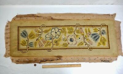 "Antique Faded Rectangle ""Tudor"" Needlepoint Tapestry Panel.  34"" x 11 3/8"""
