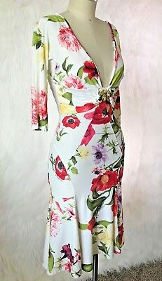 9c37ba4623695 Roberto Cavalli Ivory Floral Low Back V-neck Midi Flounce Dress 40 4 Jewel  Snake