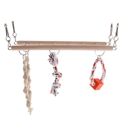 Wooden Hanging Ladder Swing Suspension Bridge Cage Toys Set for Parrot