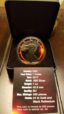 2017 1 Oz Silver $1 SOLAR ECLIPSE OF THE SUN EAGLE Ruthenium Coin WITH 24K GOLD.