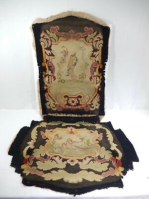 Antique French Needlepoint & Petit Point Tapestry Panels From Chair Seat & Back