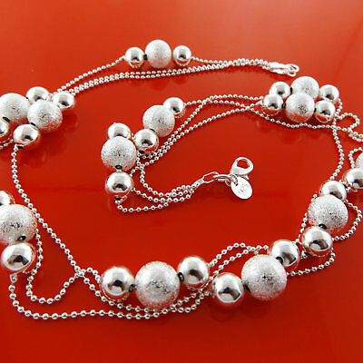"""Necklace chain 925 Sterling Silver Italian Antique Bead Link Design 20"""" 50cm"""