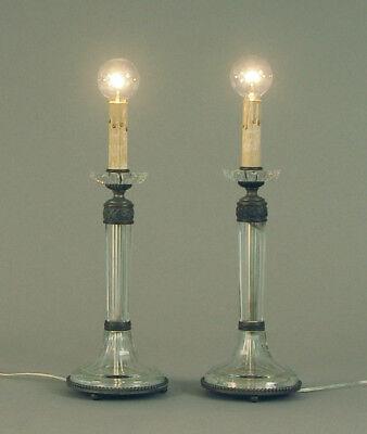 A Pair of Elegant, Gorgeous French Crystal Vanity Table Lamps, Ca. 1920