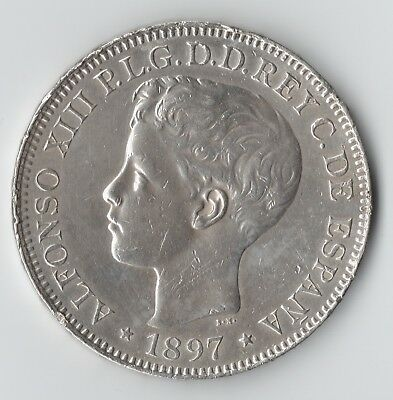 1897 Philippines 1 Silver Peso AU/Unc. Details—(cleaned with minor rim dings)