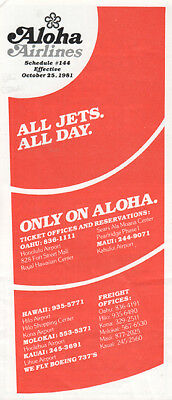 Aloha Airlines timetable 1981/10/25