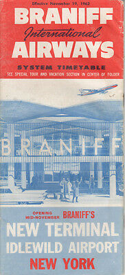 Braniff International Airways timetable 1962/11/19