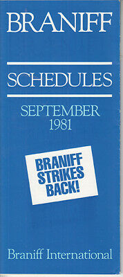 Braniff International timetable 1981/09/09