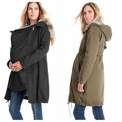 Winter Pregnant Women Maternity Long Jacket Kangaroo Baby Coat Warm Hooded Coat