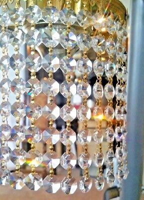 80 Vintage Chandelier Crystals Prisms Octagon Hanging 10 gold Bowtie Strings