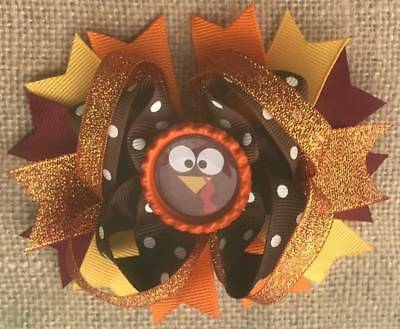 Thanksgiving Turkey Brown Orange Bottle Cap Hair Bow 4 1/2""