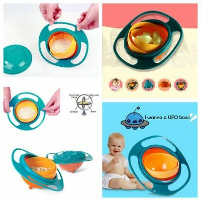 Kids Infant Feeding Dishes Gyro-Bowl Universal 360° Rotate Spill-Proof Bowl