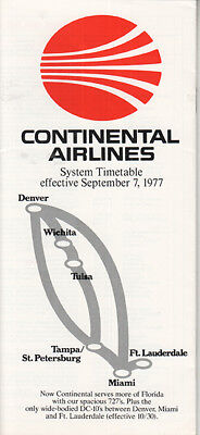 Continental Airlines timetable 1977/09/97
