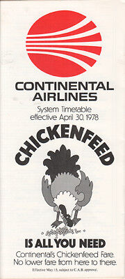 Continental Airlines timetable 1978/04/30