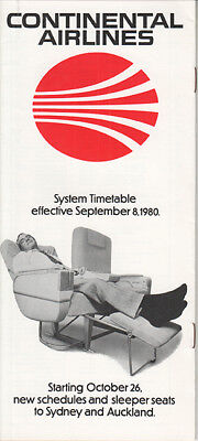 Continental Airlines timetable 1980/09/08