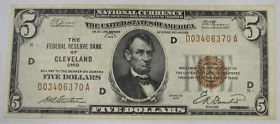 1929 $5 Federal Reserve Bank Note National Currency VF PC-104