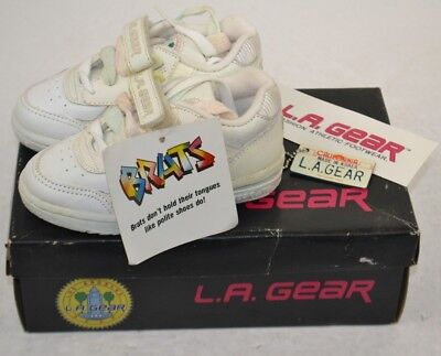 Vintage 1980s LA Gear Girls BRATS Leather Low Top Tennis Shoes 8.5 New Old Stock