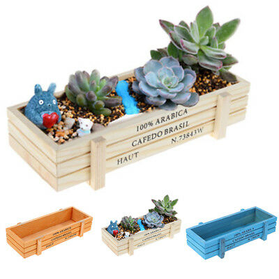 Vintage Wood Garden Flower Planter Succulent Pot Trough Rectangle Box Plant Box