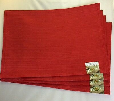"Bardwil Linens Accents Set of 4 Placemats Holidays 14""x19"" ,Red ,New"