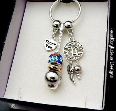 Beautiful Two Tone THANK YOU Dream Catcher Coloured Jewel Keyring Key Ring