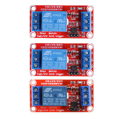 5/12/24V 1 Channel Relay Module with Optocoupler High and Low Level Trigger New