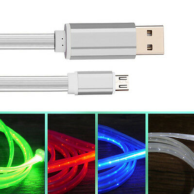 LED Light Flowing Type C / Micro USB Charge Charging Cable For Samsung Huawei