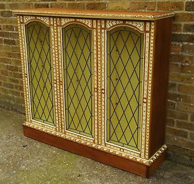 **free Delivery**........stunning Antique Solid Oak Carved Chic Painted Bookcase
