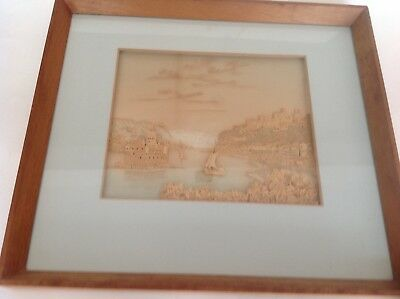 Antique Vintage Picture made of Carved Cork of ?Contental Castles and Sail Boats