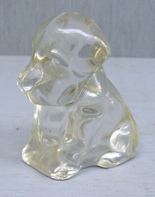 Vintage Clear Glass Puppy Dog Candy Container