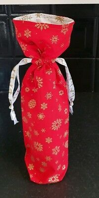 Christmas Wine Bottle Gift Bag - Fabric - Red with Gold Snowflakes