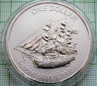 COOK ISLANDS 2017 DOLLAR, BOUNTY SAILING SHIP, 1oz SILVER PROOF MATTE