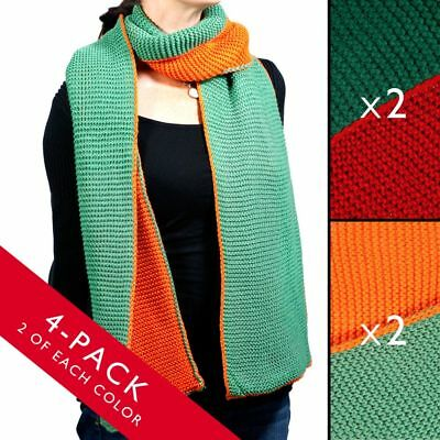 4pk Reversible Winter Scarf Set Solid Colors 6ft Long Soft Two-Sided Unisex