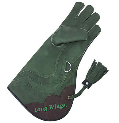 Falconry Eagle Gloves 4 Layer Nubuck Leather 43cm Long , Olive Green Size L,XL.