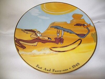 Looney Tunes Collector Plate Orig Cels Fast Furry-Ous Wile E. Coyote Road Runner
