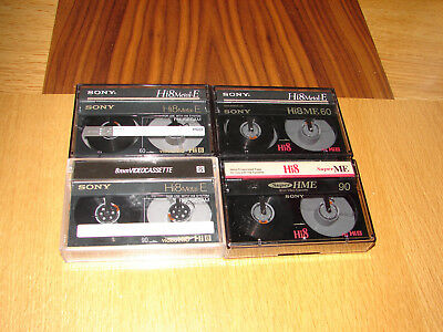 4 x SONY HI8 8MM VIDEO8 METAL-E CAMCORDER TAPES