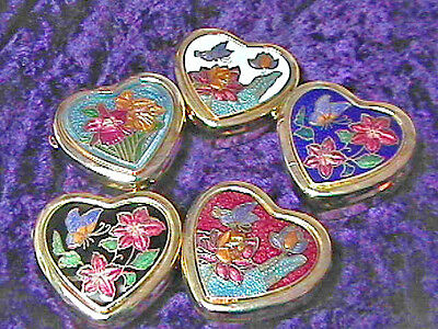 """ONE (1) Cloisonne Enamel Heart Shaped Pill Box 1 1/2"""" with Plastic Insert"""