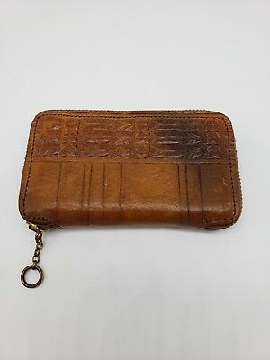 Men Women Leather coin divider pocket purse wallet vintage zipper compact tooled