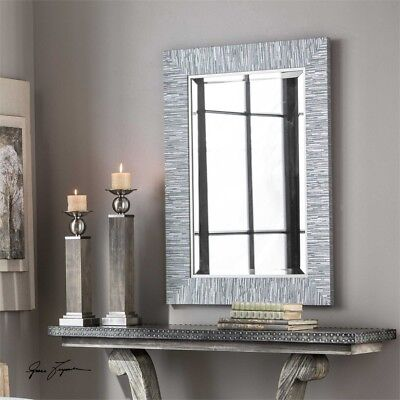 Blue Gray Silver Striped Wood Wall Mirror Rectangular Coastal Beach Modern Chic